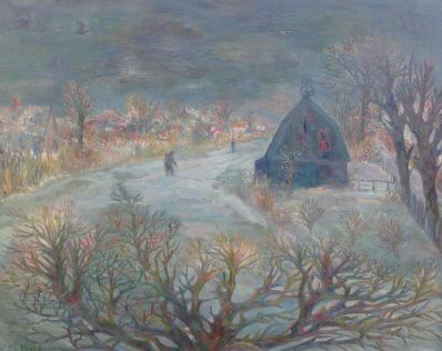 Kunstenaar Dirk Breed A3693, Dick Breed Winterlandschap verkocht