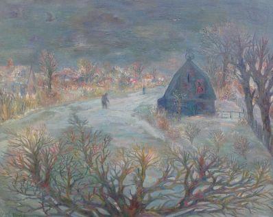 schilderijen te koop van kunstschilder, DC Breed Winterlandschap, expositie, galerie wijdemeren breukeleveen