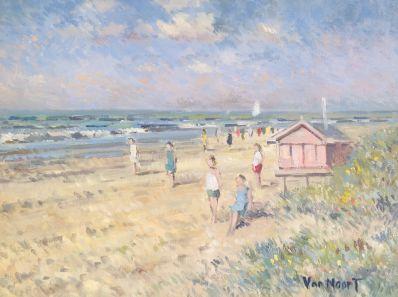 Schilderijen te koop van kunstschilder A3720 AC van Noort strandgezicht, gesigneerd, Expositie Galerie Wijdemeren Breukeleveen