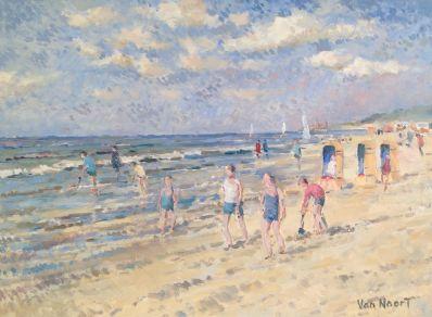 Schilderijen te koop van kunstschilder AC van Noort strandgezicht, gesigneerd, Expositie Galerie Wijdemeren Breukeleveen