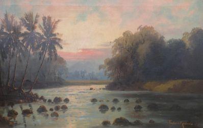 schilderijen te koop van kunstschilder, Frederik Kasenda Indonesisch landschap rechtsonder gesigneerd, expositie, galerie wijdemeren breukeleveen
