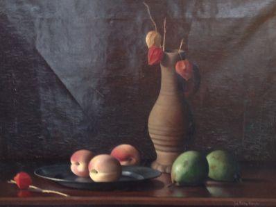 Kunstenaar Johan Fekkes Cremer A3756-2, Johan Fekkes Cremer Stilleven met perziken  Verkocht