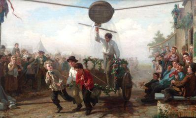 Kunstenaar Henri van Seben A3819, Henri van Seben Ringstekende jongens op dorpsfeest Olie op doek, beeldmaat: 57 cm x 91 cm Verkocht