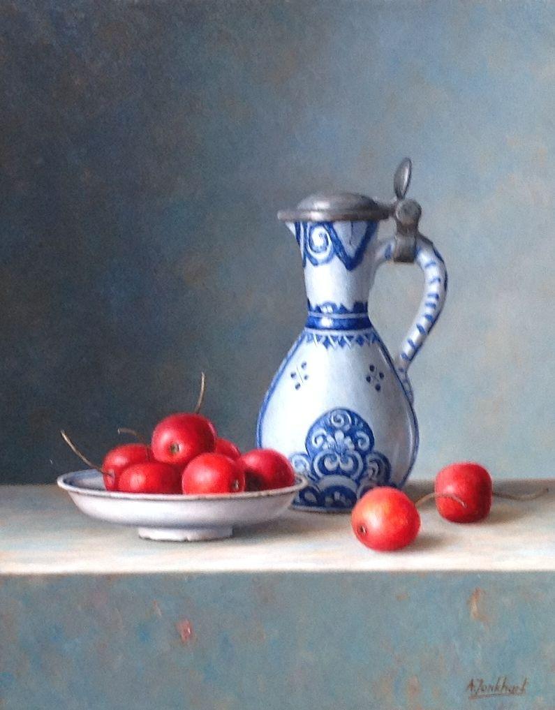 A3869 Annelies Jonkhart Delfts kannetje verkocht, te koop bij Galerie Wijdemeren Breukeleveen, schilderijen, expositie