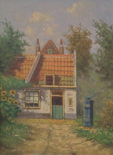 Kunstenaar A. Broekman A3932 A. Broekman Boerderij met tuin met zonnebloemen linksonder gesigneerd verkocht