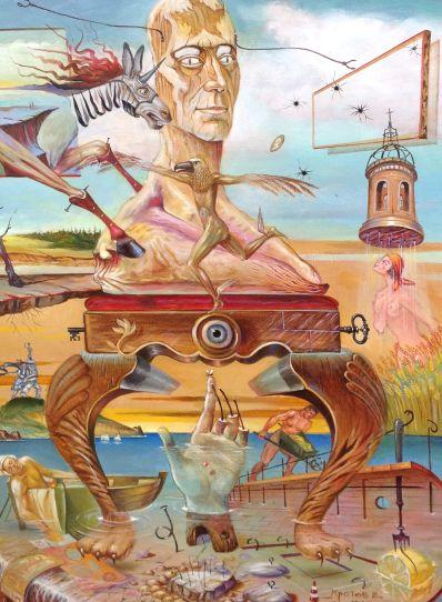 Kunstenaar Victor Krotov A3942, Viktor Krotov 'Rusland' r.o. gesigneerd en gedateerd 2014