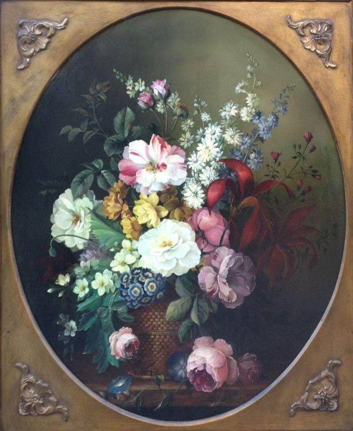 Kunstenaar D.H.J. Joosten A4996, D.J.H. Joosten Bloemstilleven olie op doek, ovaal 57 x 50 cm particuliere collectie