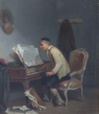 Kunstenaar Ernest Seigneurgens A4999, E.L.A. Seigneurgens Une Partie Difficile Beeldmaat: 24.5 x 20cm