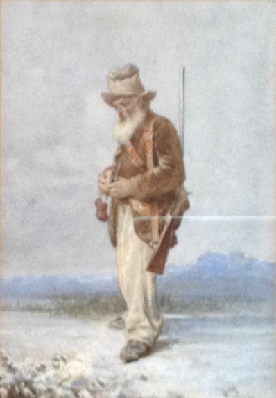 Kunstenaar Virgilio Colombo nr.A5002, Virgilio Colombo Jager Aquarel Beeldmaat: 20 cm x 14 cm