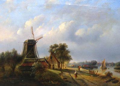 Kunst te koop bij Galerie Wijdemeren van kunstschilder J.J. Spohler Landschap met molen olie op doek, 46.5 x 64 cm