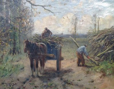 Schilderijen te koop van kunstschilder M.J. Nefkens houthakkers met paard en wagen op bospad olie op doek, 40 x 50 cm rechtsonder gesigneerd, Expositie Galerie Wijdemeren Breukeleveen