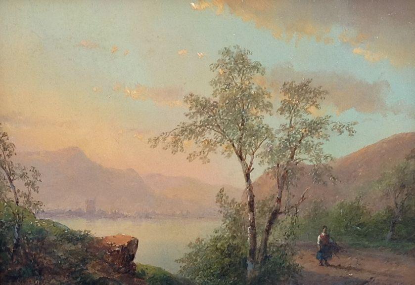 Schilderijen te koop van kunstschilder Andreas Schelfhout Panoramisch berglandschap olie op paneel, gesigneerd, Expositie Galerie Wijdemeren Breukeleveen