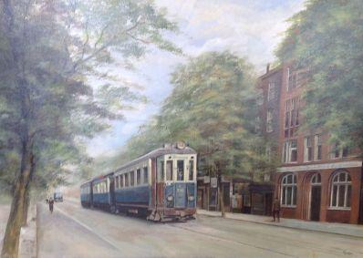 Kunstenaar Lois Kapr A5054, Lois Kapr Amsterdamse Tram Olie op doek, 50 x 70 cm verkocht