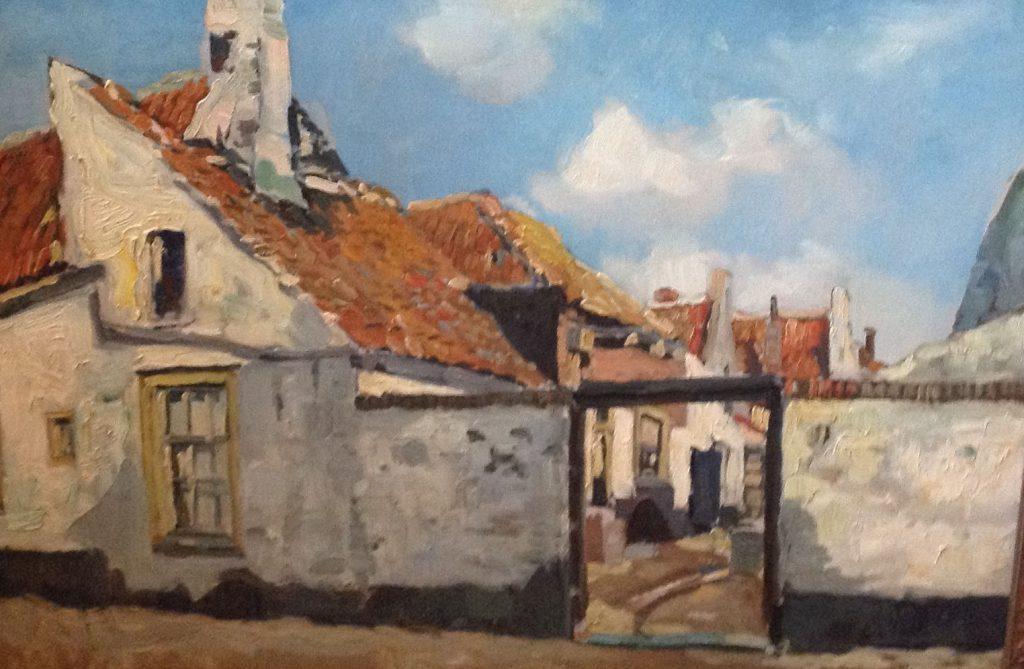 Kunst te koop bij Galerie Wijdemeren van kunstschilder  Martin van Waning Dorpsstraatje met doorkijkje olie op doek, 50.5 x 71.5 cm rechtsonder gesigneerd