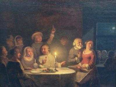 Kunstenaar Pieter Gerardus Sjamaar A5256, Pieter Gerardus Sjamaar Interieur met figuren aan tafel bij kaarslicht Olie op Paneel, beeldmaat: 22 x 28 cm Verkocht