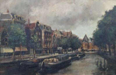 A5260 Hendrik Cornelis Kranenburg Gezicht op de Waag vanaf de Kloveniersburgwal te Amsterdam olie op doek, 40 x 60 cm rechtsonder gesigneerd, te koop bij Galerie Wijdemeren Breukeleveen