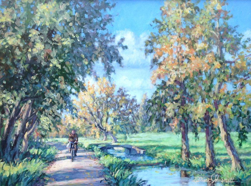 Kunstenaar L. Diane Johnson A5261 L. Diana Johnson Autumn Ride Oud-Zuilen Groeneweg acryl op doek, 40 x 50 cm particuliere collectie