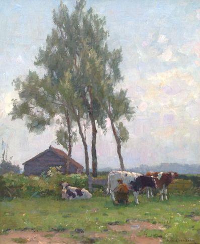 Schilderijen te koop van kunstschilder Bernard A van Beek Melktijd in Kortenhoef olie op doek, 60.5 x 50.5 cm rechtsonder gesigneerd, Expositie Galerie Wijdemeren Breukeleveen