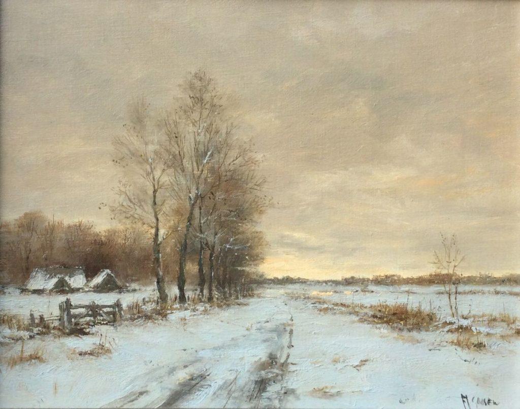 Kunst te koop bij Galerie Wijdemeren van kunstschilder F.J. Goosen Wintergezicht olie op doek, 24 x 30 cm rechtsonder gesigneerd