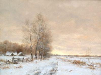 Kunstenaar Frits J. Goosen A5283, FJ Goosen wintergezicht olie op doek, 24 x 30 cm gesigneerd
