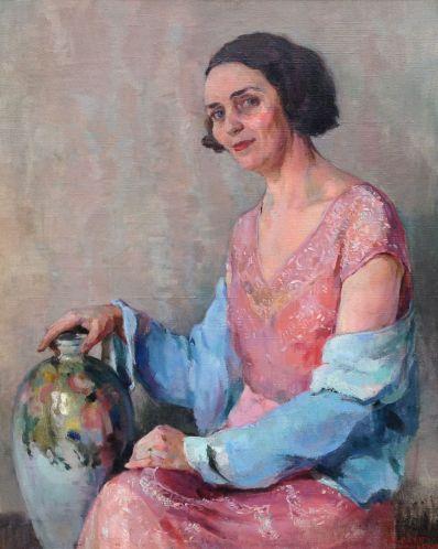 Kunstenaar Charles Henry Baskett A5359 Charles Henry Baskett Portret vrouw Olie op doek, 80 x 65 cm gesigneerd