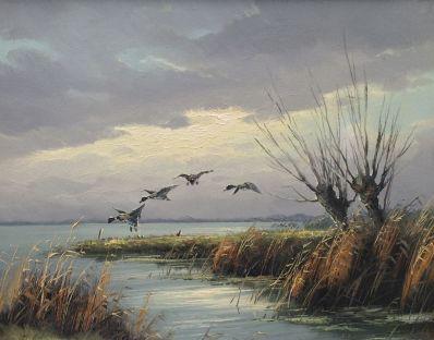 Schilderijen te koop van kunstschilder HJ Wijngaard Opvliegende eenden in polderlandschap olie op doek, gesigneerd, Expositie Galerie Wijdemeren Breukeleveen
