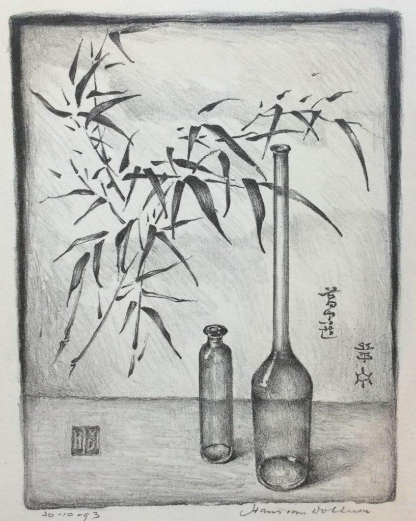 Kunst te koop bij galerie Wijdemeren van graficus Hans van Dokkum Japans stilleven litho, 18 x 14 cm rechtsonder handgesigneerd, linksonder gedateerd 30-10-93