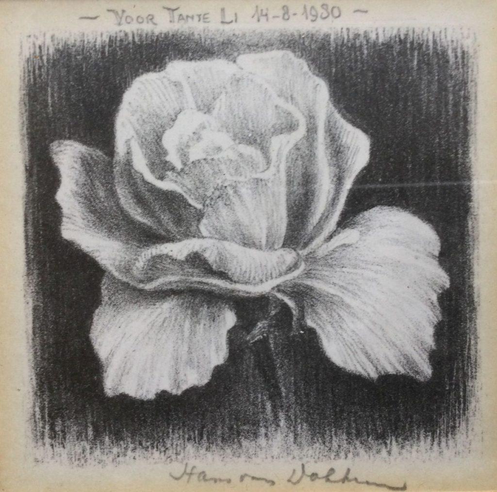 Kunst te koop bij galerie Wijdemeren van graficus Hans van Dokkum Roosje, 'voor tante Li, 14-8-1980' litho, 8.5 x 9.5 cm middenonder handgesigneerd