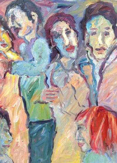 Schilderijen te koop van kunstschilder Andries Bos vrouwfiguren olie op doek, doekmaat 80 x 60 rechtsonder gesigneerd en gedateerd 2000, Expositie Galerie Wijdemeren Breukeleveen