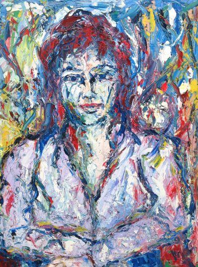 Schilderijen te koop van kunstschilder Andries Bos portret van een vrouw olie op board, boardmaat 80 x 60 cm rechtsonder gesigneerd en gedateerd '96, Expositie Galerie Wijdemeren Breukeleveen