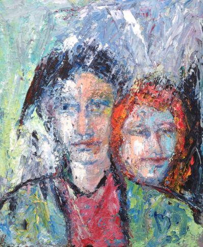 Schilderijen te koop van kunstschilder Andries Bos portret van 2 mensen olie op board, boardmaat 60,5 x 50,5 cm r.o. gesigneerd en gedateerd 2003d, Expositie Galerie Wijdemeren Breukeleveen