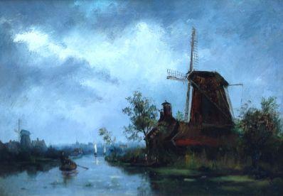 Kunstenaar A.J. Sap jr. A5658-1 A.J. Sap jr. Rivierlandschap met molen particuliere collectie