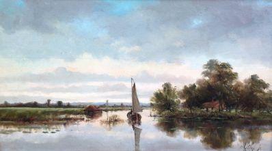 Schilderijen te koop van kunstschilder AJ Sap jr rivierlandschap met zeilboot olie op doek, gesigneerd particuliere collectie, Expositie Galerie Wijdemeren Breukeleveen