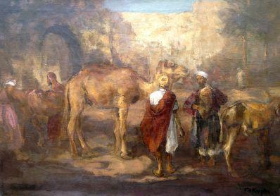 Schilderijen te koop van kunstschilder Fedor van Kregten Oosters tafereel olie op doek, doekmaat 49,5 x 71 cm rechtsonder gesigneerd, Expositie Galerie Wijdemeren Breukeleveen