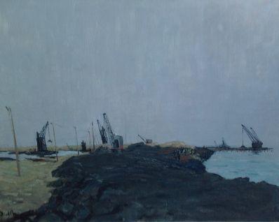 Kunstenaar Dick Braam A5669,Dick Braam Dijkherstel Zeeland l.o. gesigneerd