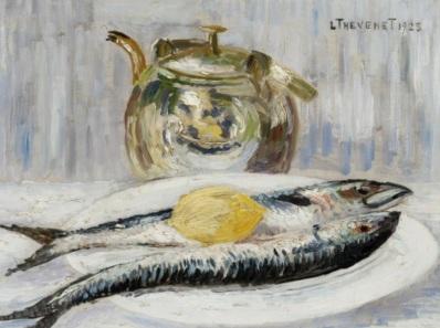 Schilderijen te koop, kunstschilder Louis Thevenet stilleven met vissen, expositie Galerie Wijdemeren Breukeleveen