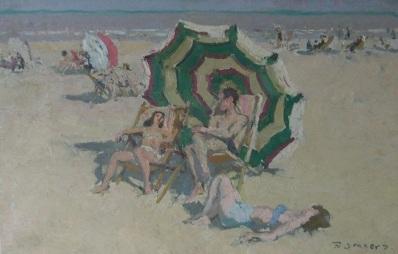 Schilderijen te koop, kunstschilder Frans Smeers Zonnebaden olie op doek, gesigneerd, expositie Galerie Wijdemeren Breukeleveen