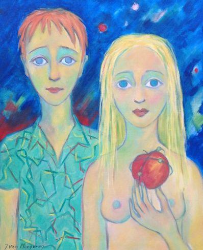 Schilderijen te koop, kunstschilderJacques van Meegeren Adam en Eva Olie op doek linksonder gesigneerd, expositie Galerie Wijdemeren Breukeleveen