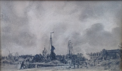 Kunstenaar Jacob Henricus Maris A5752, Jacob Maris Haven Pentekening
