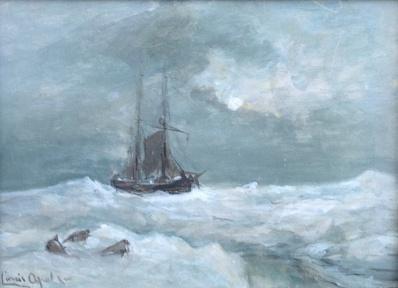 Kunstenaar Louis Apol A5753 Louis Apol gouache boot op poolzee voorheen te koop