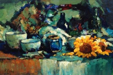 Schilderijen te koop van kunstschilder JHenri Hess stilleven met zonnebloemen olie op doek l.o. gesigneerd, Expositie Galerie Wijdemeren Breukeleveen