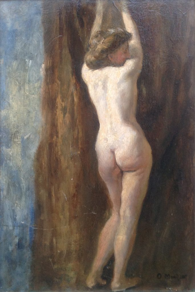 Kunstenaar Oscar Mendlik A5833, Oscar Mendlik Onder de boompjes r.o. gesigneerd verkocht