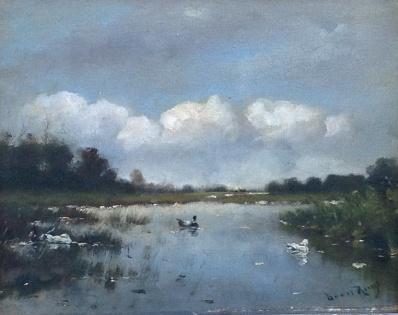 Kunstenaar Daniel R. Ruys A6058, Daniel Ruys Eenden op de plas olieverf