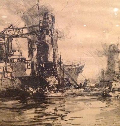 Kunstenaar Johann Hendrik van Mastenbroek A6177-1, J.H. van Mastenbroek In de haven Krijttekening op papier  verkocht