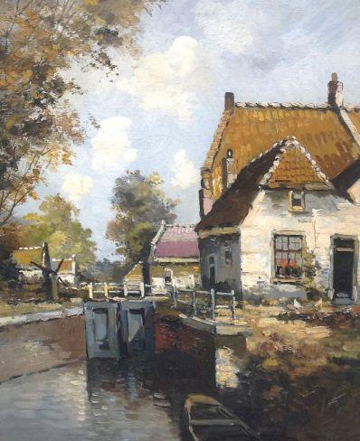 Kunstenaar Theo Hekker A6230, Theo Hekker Sluisje Spaardam 1905  Verkocht