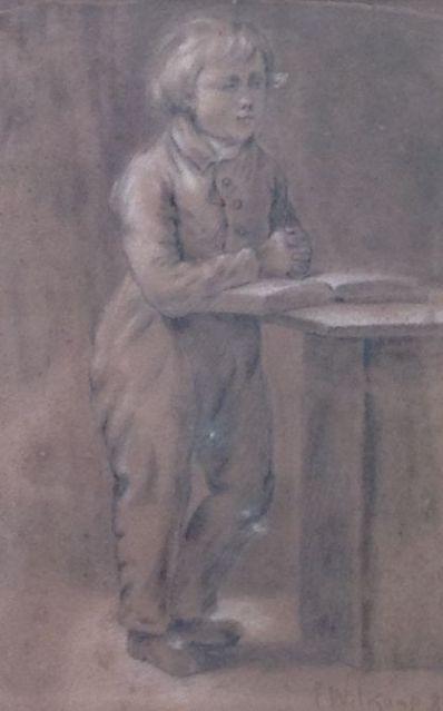 Kunstenaar Ernst Witkamp A6231, Ernst Sigismund Witkamp jongetje met boek, r.o. gesigneerd en gedateerd 1983 tekening, 21 x 14 cm