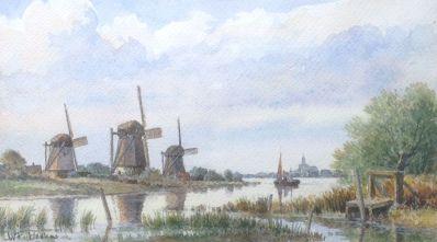 Kunstenaar Wam Heskes A6236, W.F. Heskes Molens Aquarel l.o. gesigneerd