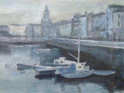 schilderijen te koop van kunstschilder, Hugo Liebe Haventje van La Rochelle Aquarel, beeldmaat 70 x 52 cm ongesigneerd, 1977, expositie, galerie wijdemeren breukeleveen