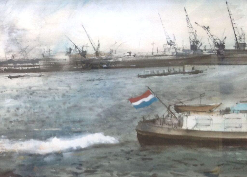 Kunstenaar Jan Andreas Goedhart A6324, Jan Goedhart 'Haven Rotterdam' aquarel, 46 x 62 cm r.o. gesigneerd particuliere collectie