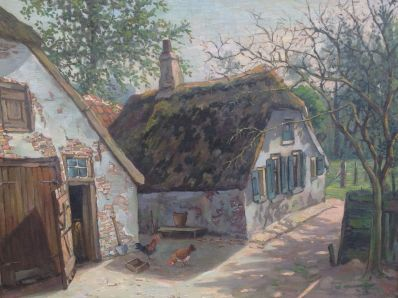 Kunstenaar Franz T. von Rupprecht A6334, Franz Theodor von Rupprecht Boerenerfje Olieverf op doek verkocht